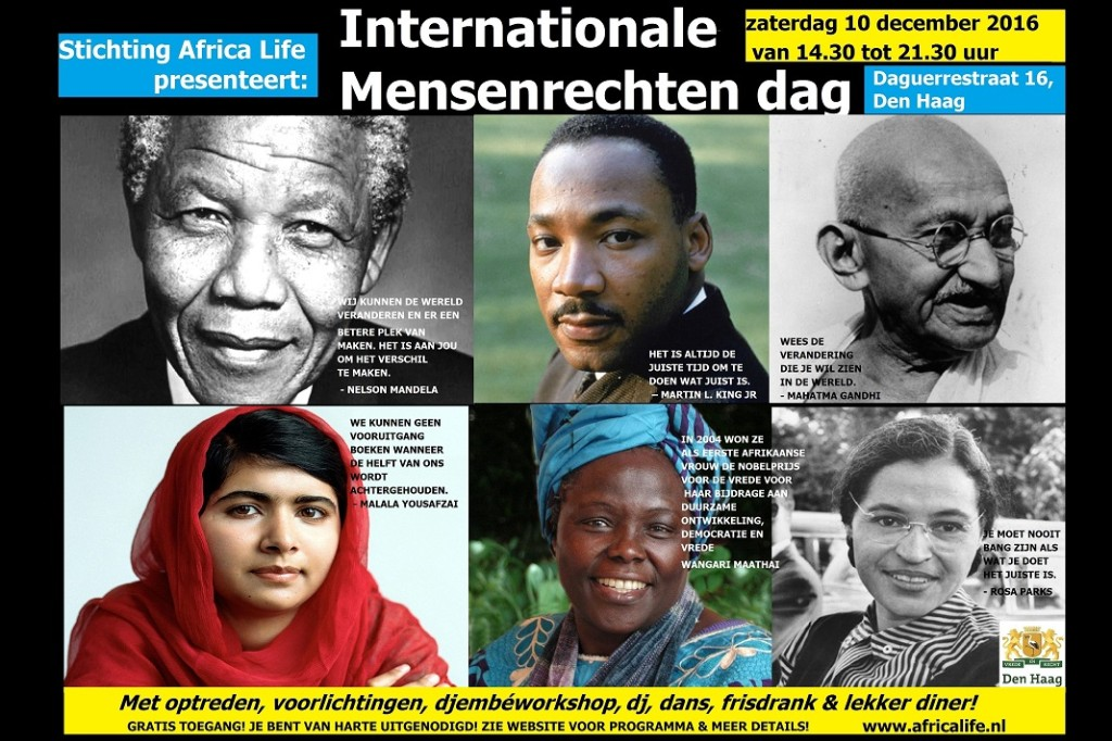 10 december 2016 Mensenrechtendag viering poster